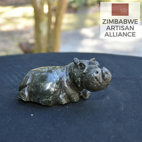 """Mini Hippo"" Shona Sculpture"