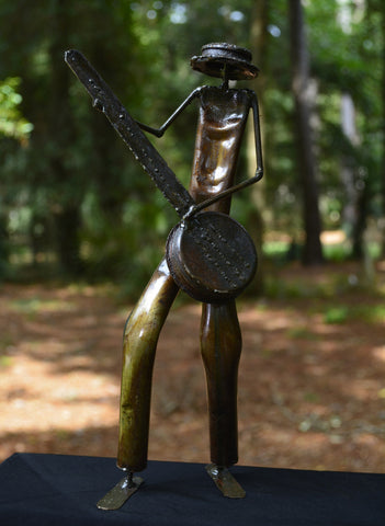 """Banjo Player"" Recycled Metal Artwork"