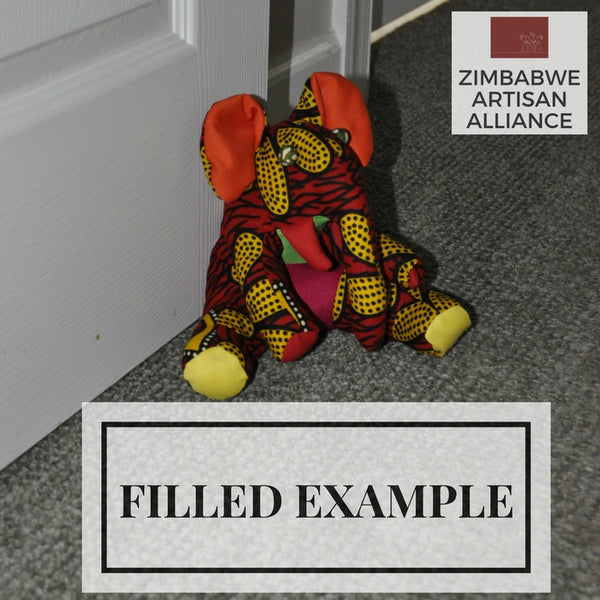Door Stopper/ Piggy Bank Red and Yellow Elephant