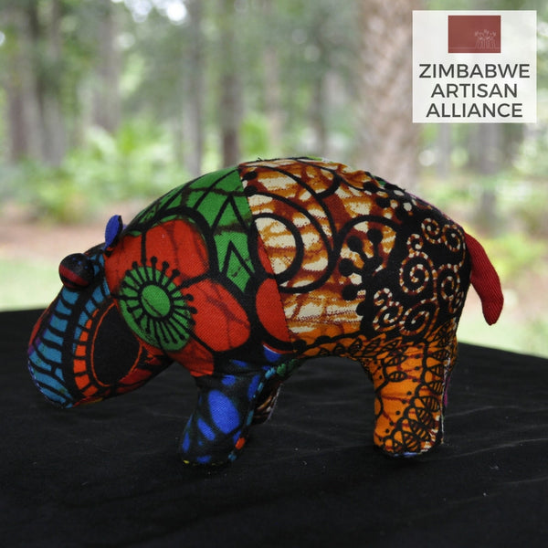 Multi Color Pattern Small Stuffed Animal Hippo