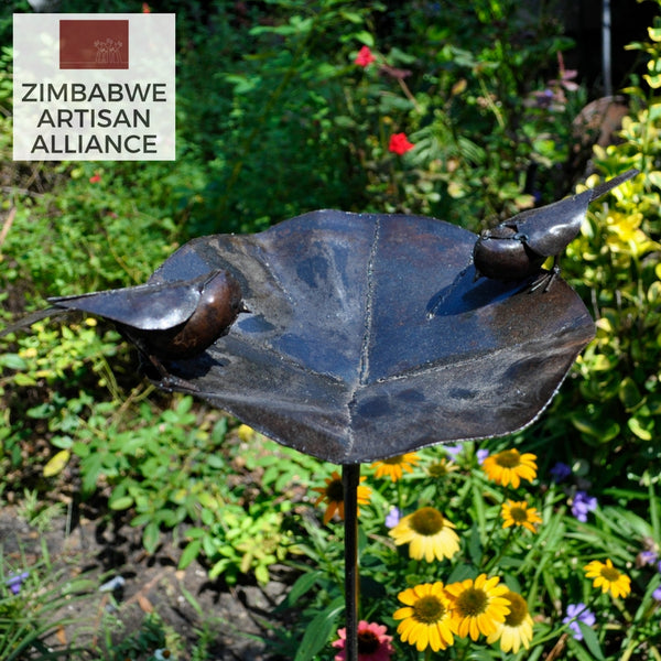"""Large Metal Birdbath with Robin"" Recycled Metal Artwork"