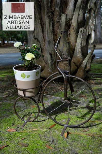 """Medium Bicycle Plant Holder/Candle Holder"" Recycled Metal Artwork"