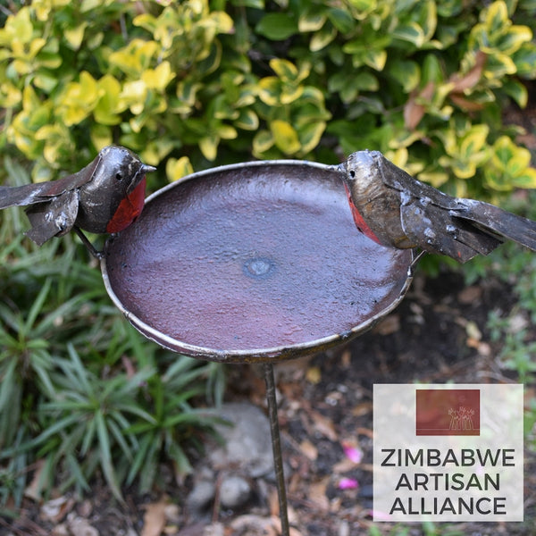 """Small Round Metal Birdbath"" Recycled Metal Artwork"