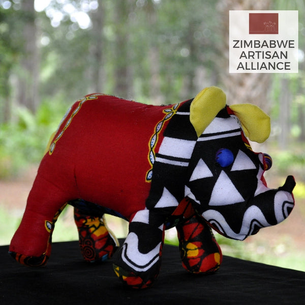 Red Yellow and Black Medium Stuffed Animal Rhino