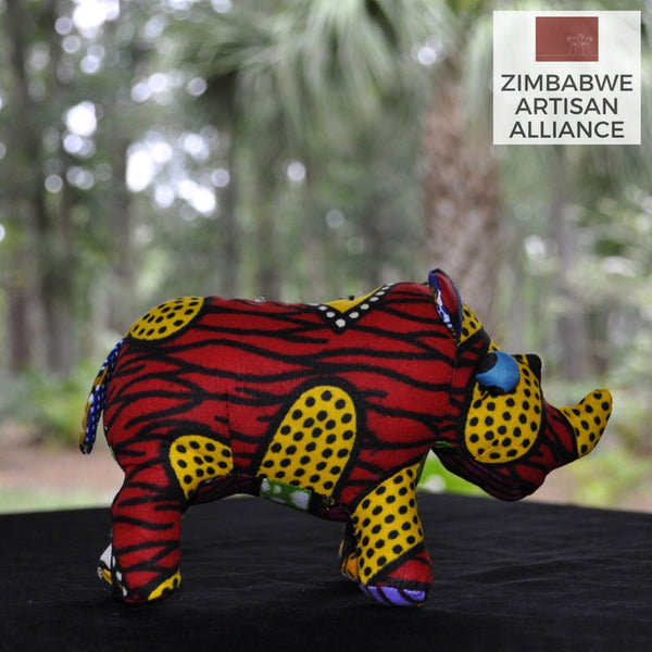 Red and Yellow Pattern Small Stuffed Animal Rhino