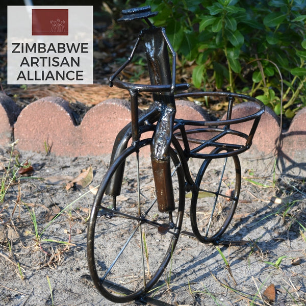"""Small Bicycle Plant Holder/Candle Holder"" Reycled Metal Artwork"