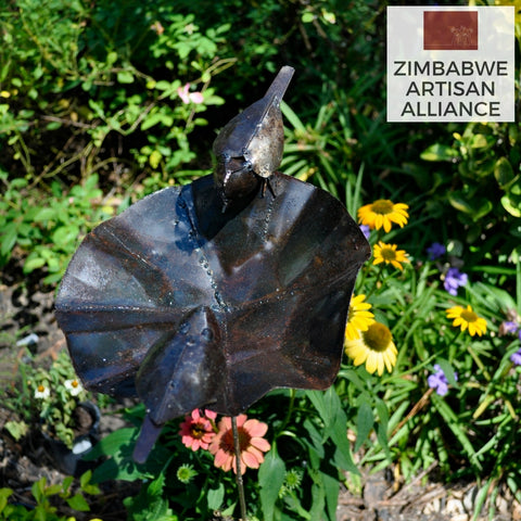 """Small Metal Birdbath"" Recycled Metal Artwork"