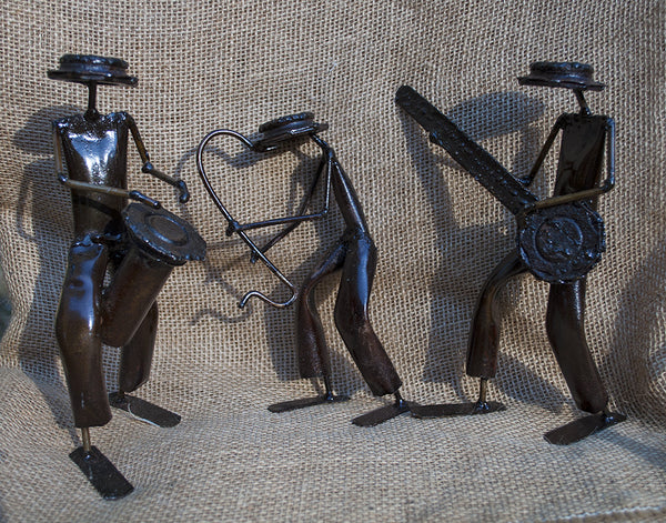 """Set of Small Metal Musicians"" Recycled Metal Sculpture"