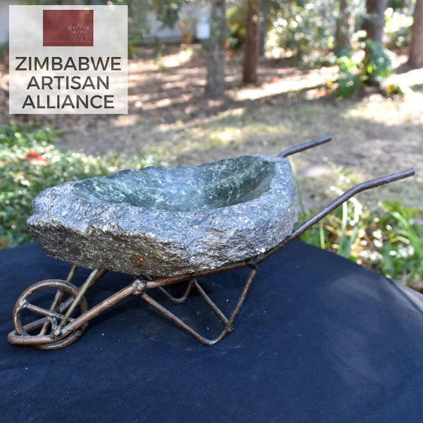 """Wheelbarrow Birdbath"" Sculpture"