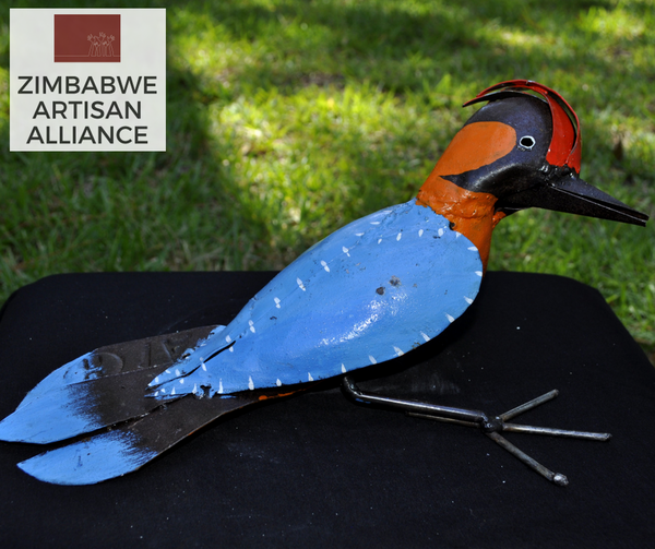 """Blue Woodpecker Bird"" Recycled Metal Artwork"