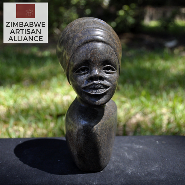 """Zimbabwean Woman Wearing Dhuku"" Shona Sculpture"