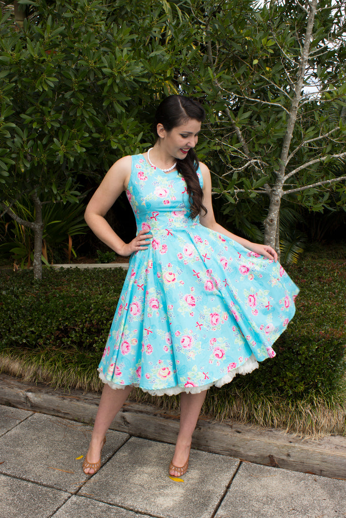 Matilda Swing Dress - Lecian Blue Floral - LAST ONE SIZE 10