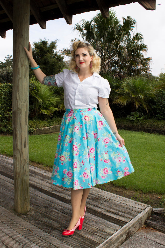 Sandy Swing Skirt - Lecian Blue Floral- LAST TWO