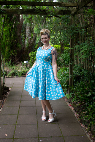 Matilda Swing Dress - Blue Swan print - LAST TWO