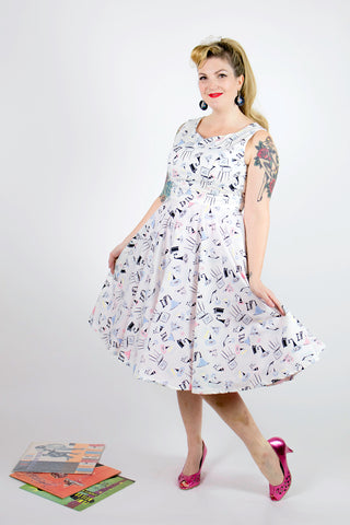 Matilda Swing Dress - Gramophone print - LAST TWO