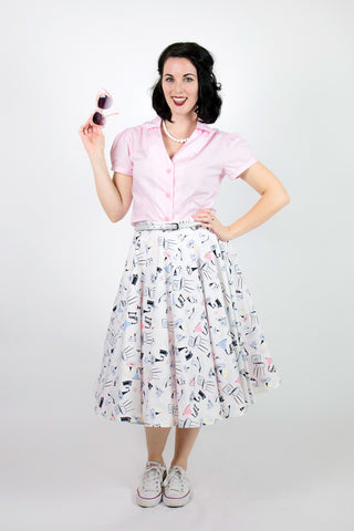 Sandy Swing Skirt - Gramophone Print
