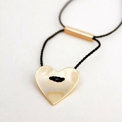 9ct solid gold HEART necklace with adjustable silk cord