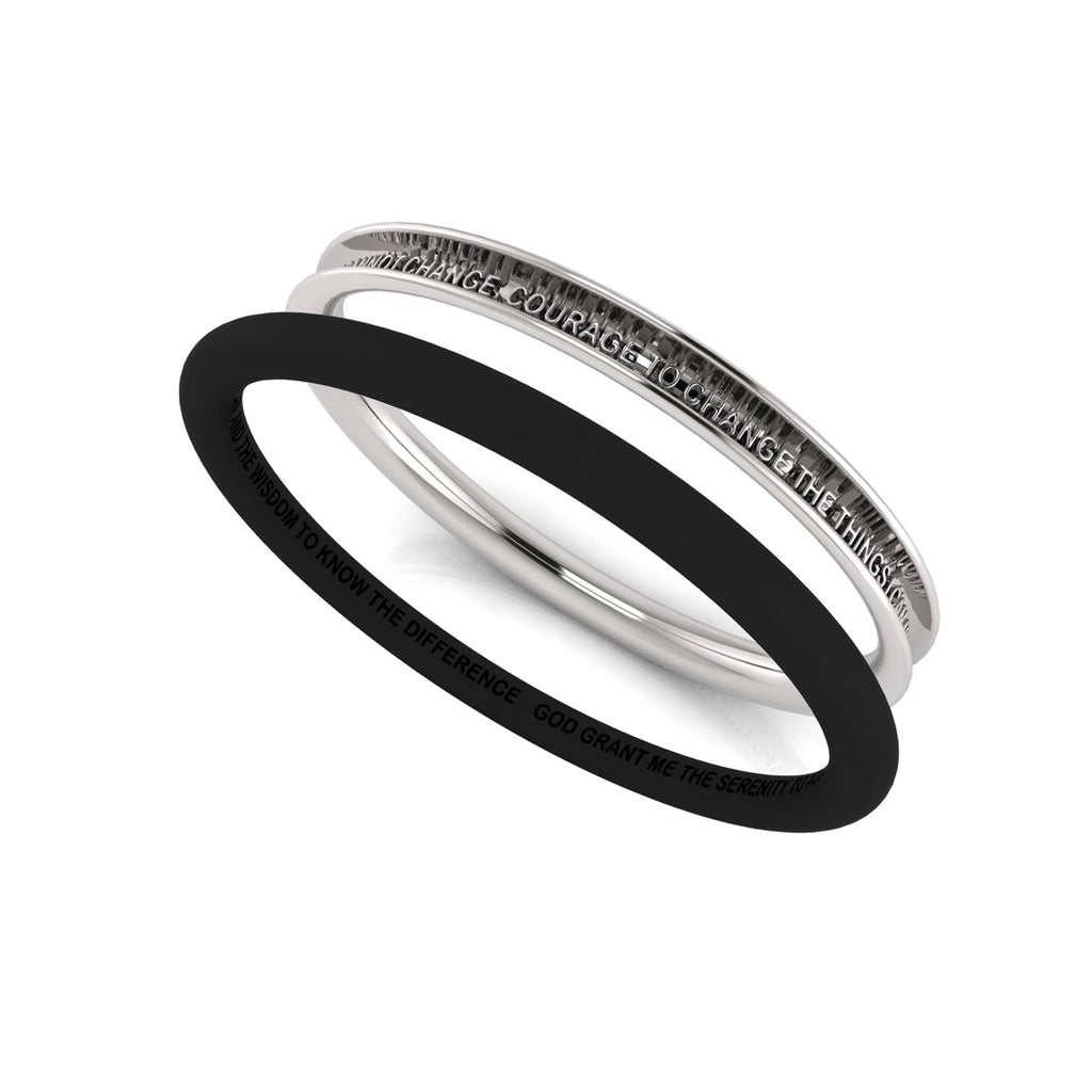 SERENITY prayer bangle with rubber concealing band