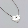 sterling silver HEART necklace with adjustable silk cord