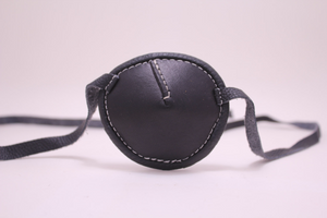 Eyepatch -Round- Black With White Stitching