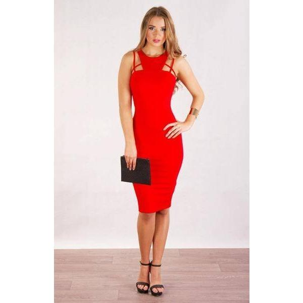 Geometric High Neck Bodycon Dress - Paradise Fashion Design