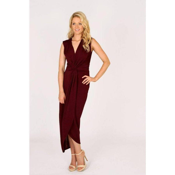 3RD LOVE Holiday Wine Knotted Maxi Dress
