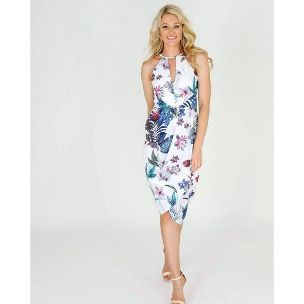 3RD LOVE Floral Paradise Drape Front Midi Dress |ParadiseFashionDesign