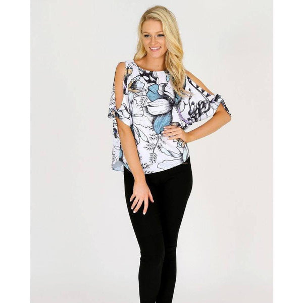 3RD LOVE Linea Blooms Split Sleeve Top |ParadiseFashionDesign