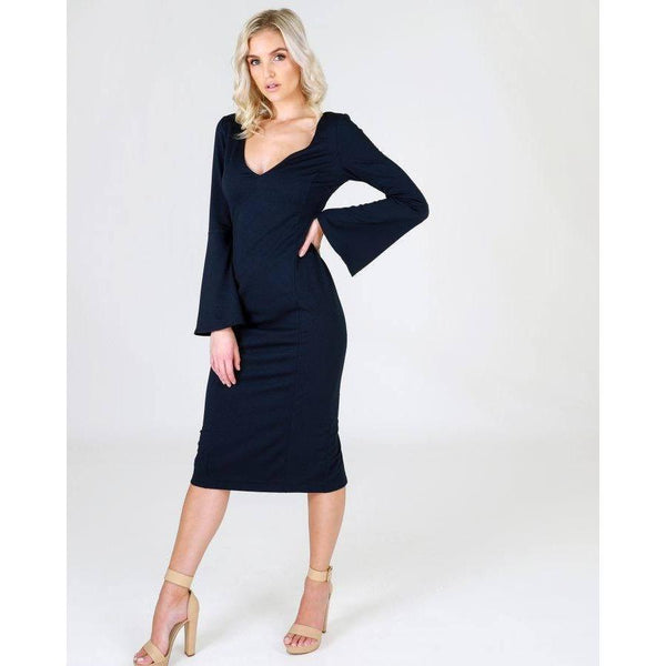 3RD LOVE Claudette Navy V Neck Trumpet Sleeve Dress |ParadiseFashionDesign