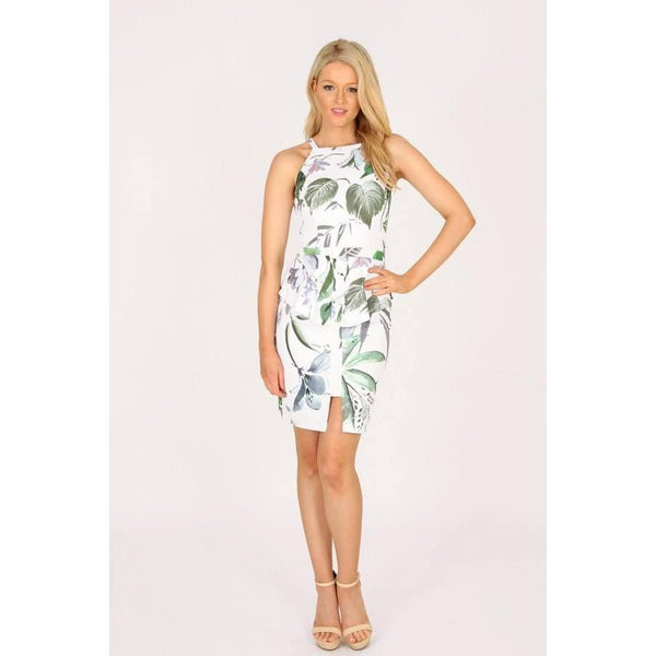 Waterfall Of Leaves Peplum Dress - Paradise Fashion Design