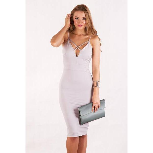 Cross Over Strap Midi Bodycon - Paradise Fashion Design