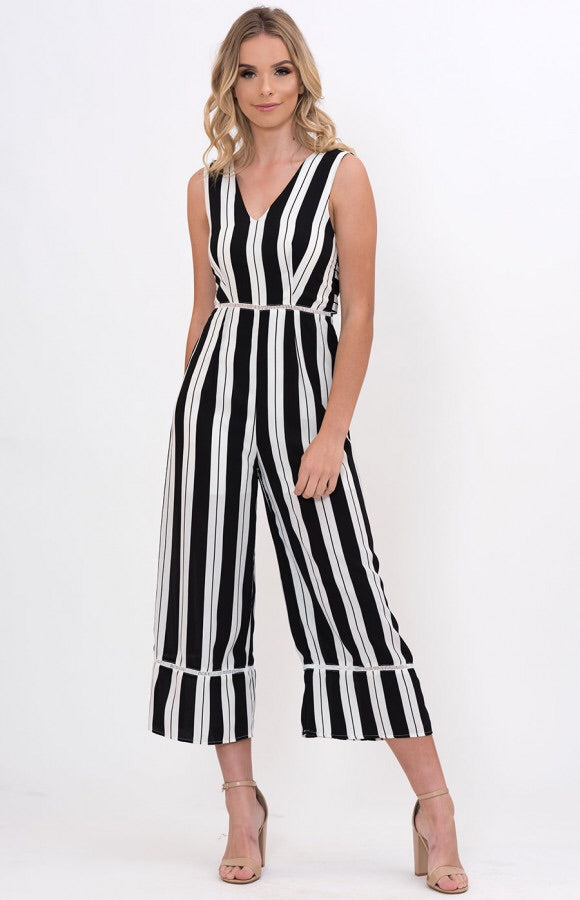 a91d20fefbd8 Ava Strapless Tie Front Playsuit In Navy. Hearts Desire Stripe Jumpsuit