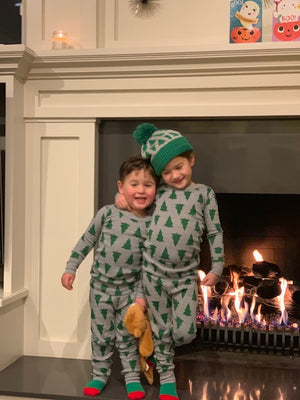 Kids in Christmas pajamas