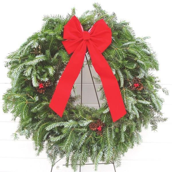 Handmade Fraser Wreath w/ Ribbon & Cones