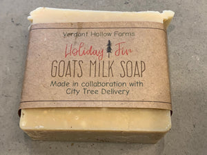 Handmade Holiday Soap infused with our mixed Christmas Greens