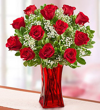 Blooming Love Premium Roses with Red Vase, Red