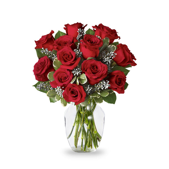 Silver Red Rose Bouquet