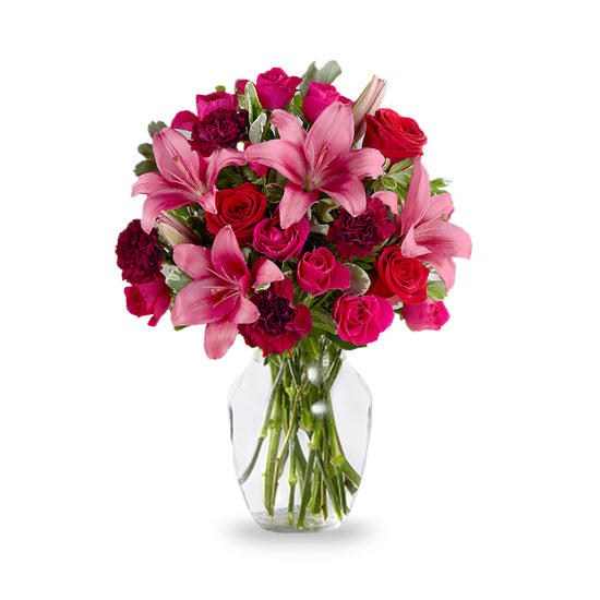 Hot-Pink Lily And Red Rose Bouquet
