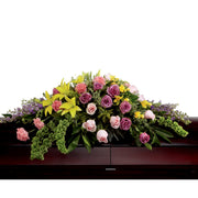 Forever Roses, Carns and Lilies Casket Spray