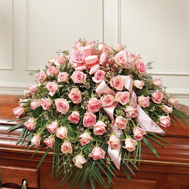 Pink Remembrance Half Casket Spray