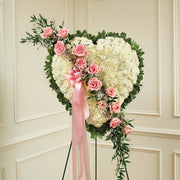Pink Everlasting Poms and Roses Heart