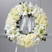 Remembrance Lilies, Poms and Roses Wreath
