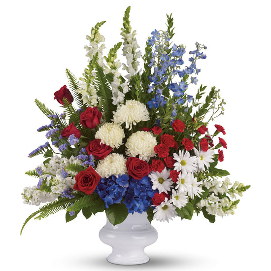 Patriotic Roses and Carnations Basket