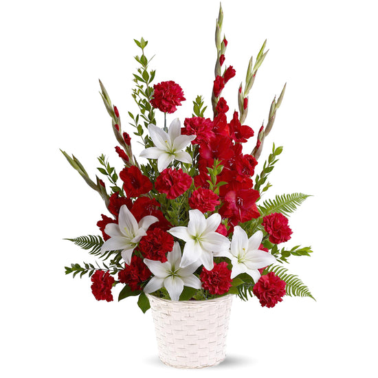 Tender Gladioli, Lilies and Carnations Basket