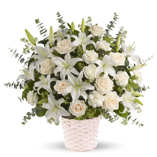 Peaceful Lilies, Roses and Eucalyptus Basket