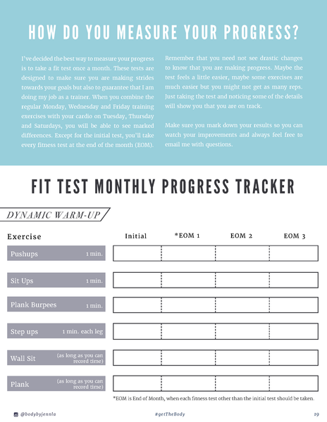 Monthly Fitness Tests