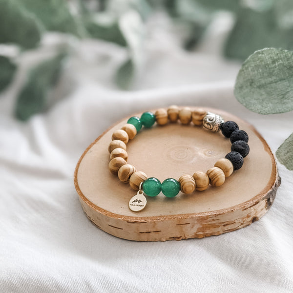 Tigerwood Buddha Diffuser Bracelet - Multiple Gemstone Options