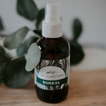 Boreal blend is a ready-to-use natural essential oil spray made of grapefruit, vanilla, balsam fir and eucalyptus