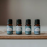 The Cabin Collection essential oils made of Chinook blend (lavender and peppermint), Healer's Blend (traditional thieves blend), Boreal Blend and Cleanse blend. Bring the cabin home