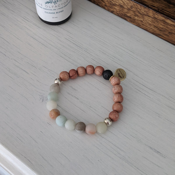 Rosewood and Matte Amazonite Bracelet - The Olfactory Shop